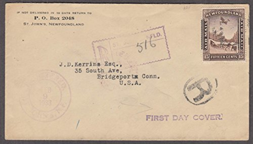 1933 Newfoundland 15c Air Mail First Day Cover L & S Post overprint