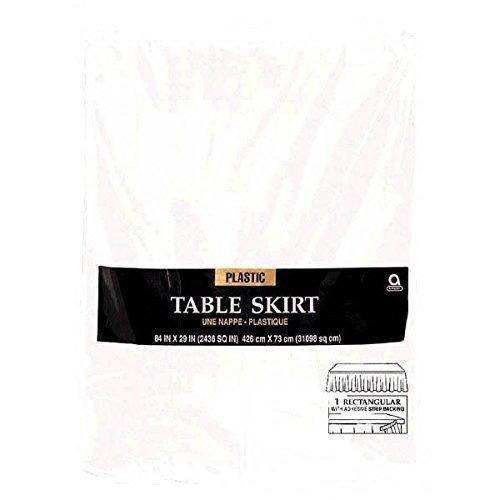 White, Plastic Tableskirt, 14' x 29