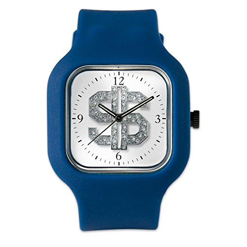 Navy Blue Fashion Sport Watch Bling Dollar Sign