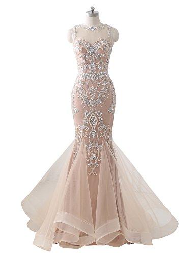 Kleider Izanoy Abend Perlen Champagner Lange mit Damen Formale Prom 2018 Meerjungfrau zwZZYIqr
