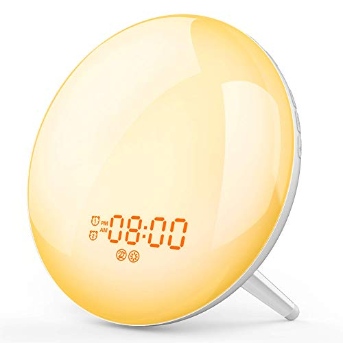 Wake Up Light, Dostyle Alarm Clock 7 Colored Sunrise Simulation & Sleep Aid Feature, Dual Alarm Clock with FM Radio, 7 Natural Sound and Snooze Function for Kids Adults Bedrooms [2019 Latest Version]