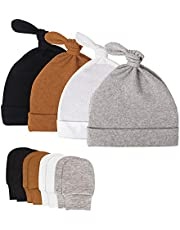 FRJHBS Cotton Baby Hats, Newborn Hospital Hats Winter Soft & Warm Knotted Cap for Boys and Girls, Baby Hats 0-6-Month-Old(4-Pack )