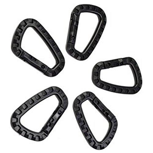 Generic Black Color 80-mm Carabiner Clip Snap Hook Key Ring Holder Pack (80 Mm Tip)