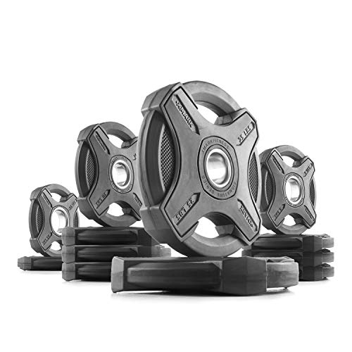 XMark 115 lb Set Signature Plates, One-Year Warranty, Olympic Weight Plates, Cutting-Edge Design by XMark Fitness (Image #4)