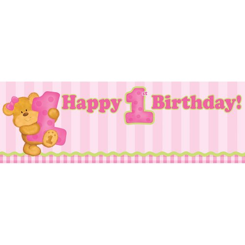 Birthday Message Bear (Giant Party Banner, Pink Bears First Birthday)