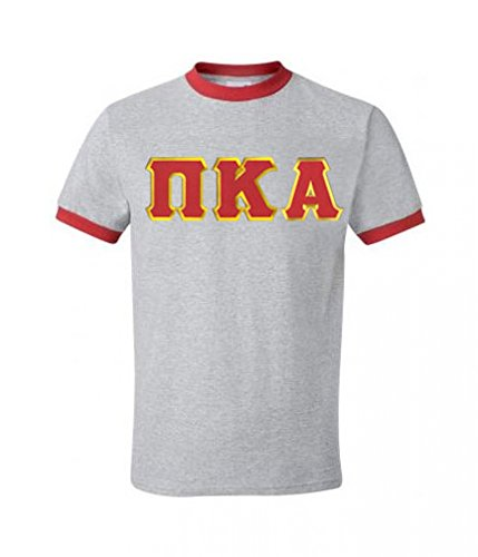 - Express Design Group Pi Kappa Alpha Lettered Ringer Shirt XXX-Large Grey w/Red Trim