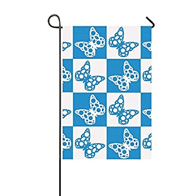 YUMOING Home Decorative Outdoor Double Sided Quilt Pattern Butterflies White Blue Garden Flag,House Yard Flag,Garden Yard Decorations,Seasonal Welcome Outdoor Flag 12 X 18 Inch Spring Summer Gift