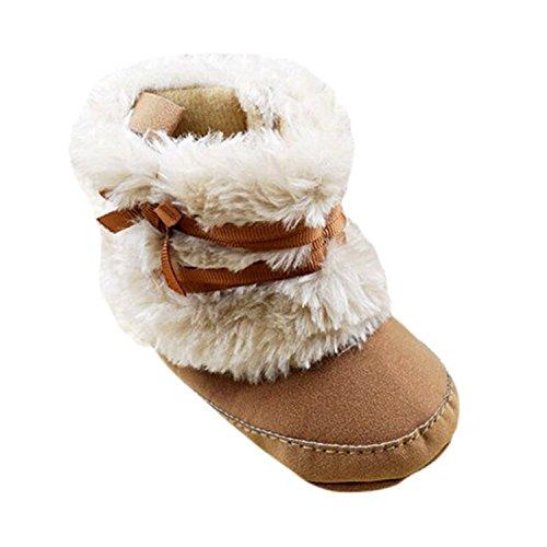 Baby Girls Winter Snow Boots Bowknot Prewalker (White) - 3