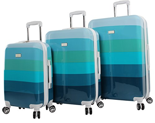 Nicole Miller Rainbow Hard-Sided 3-Piece Spinner Set: 28'', 24'', and 20'' (Sea Glass) by Nicole Miller