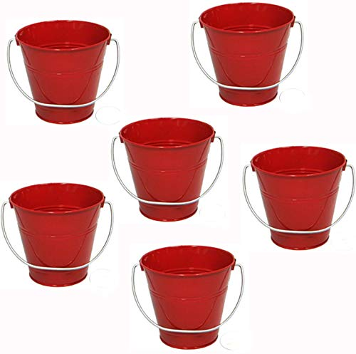 ITALIA 6-Pack Metal Bucket 0.5 Quart Color Red Size 4.3x 4.3 ()
