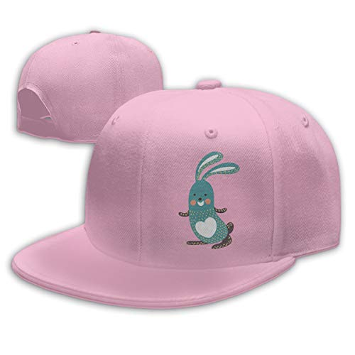 Buecoutes Cartoon Rabbit Flat Visor Baseball Cap, Designed Snapback Hat Pink -