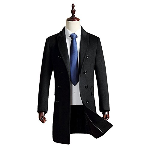 355f4acf Men's Premium Wool Blend Double Breasted Long Pea Coat. Home/Coats for Men/ Wool & Blends/Men's Premium Wool Blend Double Breasted Long Pea Coat