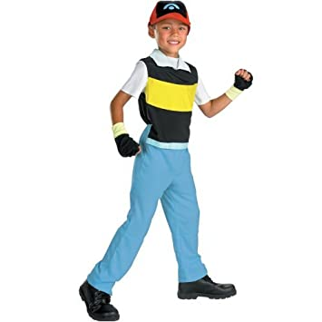 Amazon.com: Ash Ketchum Pokemon Kid Halloween Costume Medium 7-8 ...