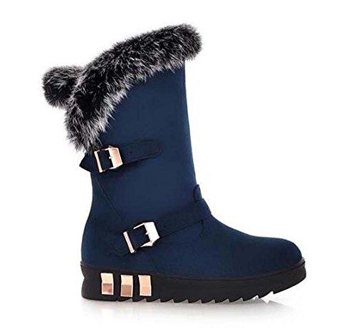 (Naughtyangel Women Winter Warm Snow Ankle Platform Belt Buckles Boots Faux Fox Rabbit Fur Shoes (US 9.5Women/US 6.5Men/25cm/CN 41, Blue))
