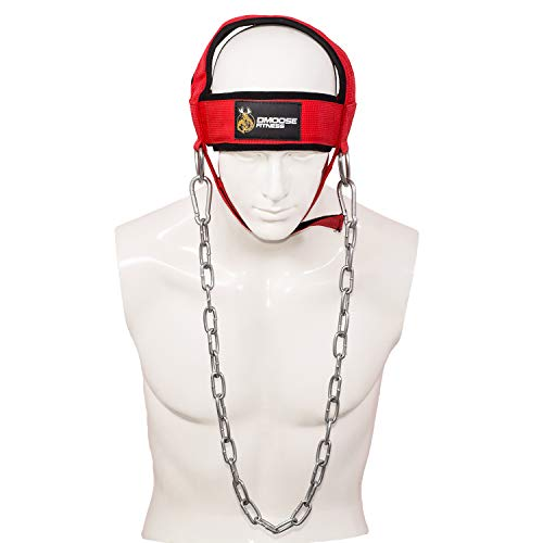 DMoose Fitness Neck Head Harness for Resistance Training. Extra-Heavy Rings and Steel Chain, Comfort Fit Neoprene, Superior Saddle Stitching. Build A Thicker Neck with Durable Exercise Neck Strap