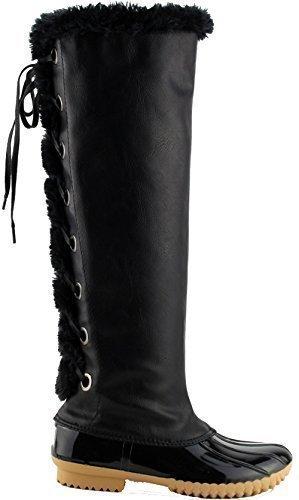 Nature Breeze Duck 15 Womens Fur Lace Up Stylish Rain Snow Boots Black 10