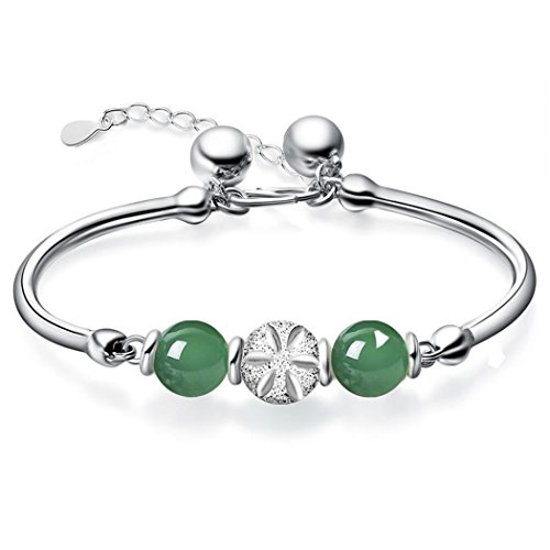 Dog Brother Silver Plated Chain Two Green Jade Beads Bracelet for Women