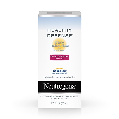 - Neutrogena Healthy Defense Daily Moisturizer with Broad Spectrum SPF 50 Sunscreen, Vitamin E & Anti-Oxidants, Lightweight, Non-Greasy & Hypoallergenic, 1.7 fl. oz