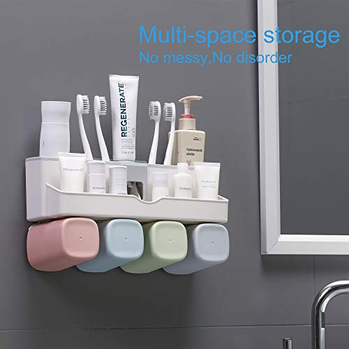 Wall Mounted Toothbrush Holder, Toiletry Items Storage Holder No Drilling on Wall, Toothpaste Holder with dispenser,toothbrush storage set with 4 Rinse Mouth Cups for Family Washroom Bathroom(4 CUPS)