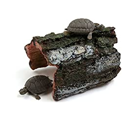 uxcell Green Gray Resin Tree Hole Reptiles Turtle Hut Shelter Decor for Terrarium