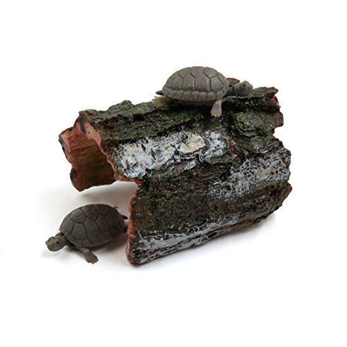 uxcell Green Gray Resin Tree Hole Reptiles Turtle Hut Shelter Decor for - Hut Turtle