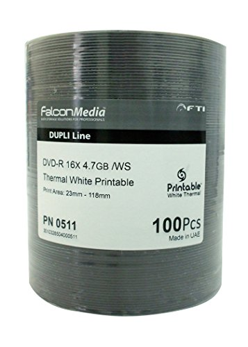 FalconMedia DVD-R16x 4.7 GB White Thermal Printable for Rimage and Teac Printer Print area 23mm-118mm ()