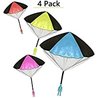 """Toys+ 4 Pack Tangle Free Throwing Parachute Man with Large 20"""" Parachutes! Blue, Orange, Pink and Yellow"""