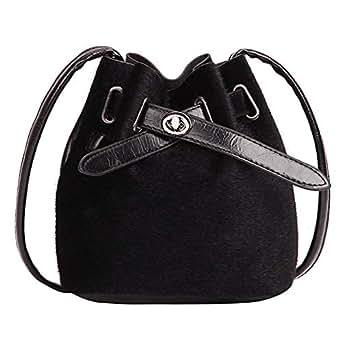 Amazon.com  ZOMUSAR Bucket Bag for Women Plush Leopard Print Hasp Shoulder  Bag Messenger Crossbody Purse Tote (Black)  Clothing 6222d56de5e0