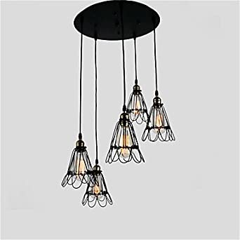 GDS Vintage Creative Wrought Iron Small Iron Cage Lighting L&s Metal Pendant Lights 5 Lights Painted & GDS Vintage Creative Wrought Iron Small Iron Cage Lighting Lamps ... azcodes.com