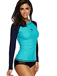 Attraco Womens long-sleeve rush guard uv rushguard upf 50 Swimming shirt