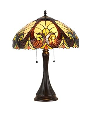 "Chloe Lighting CH38780VI16-TL2 ""Amor"" Tiffany-Style Victorian 2 Light Table Lamp 16"" Shade"