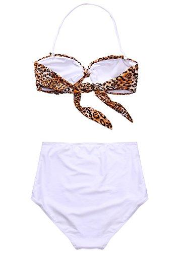 MissTalk Mujer Retro Cintura alta traje de baño Bikini Beachwear Leopard
