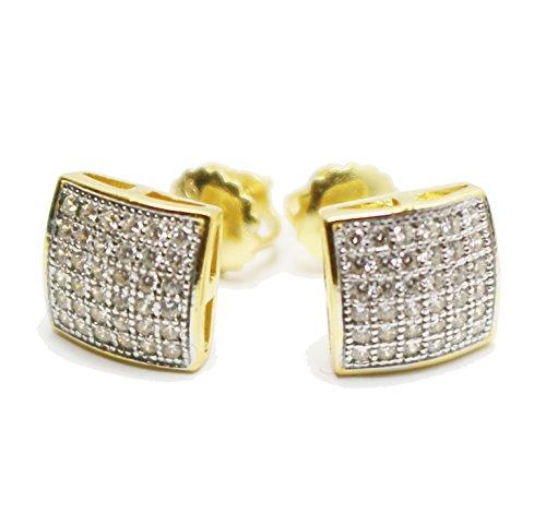 mens-ladies-10k-yellow-gold-designer-square-micro-pave-diamond-earrings-studs
