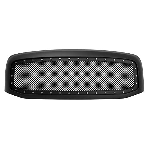- Paragon Front Grille for 2006-08 Dodge Ram 1500/2500/3500 - Matte Black Grill Grilles with Mesh and Rivets