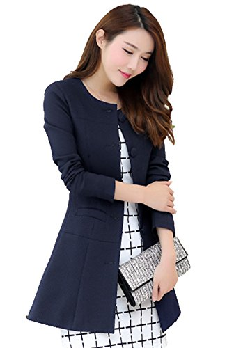 Women's Slim Business Blazer Blue - 3