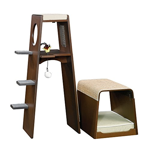 Modular Modern Cat Tower 42 Inch Padded Climbing Steps And Scratching Area