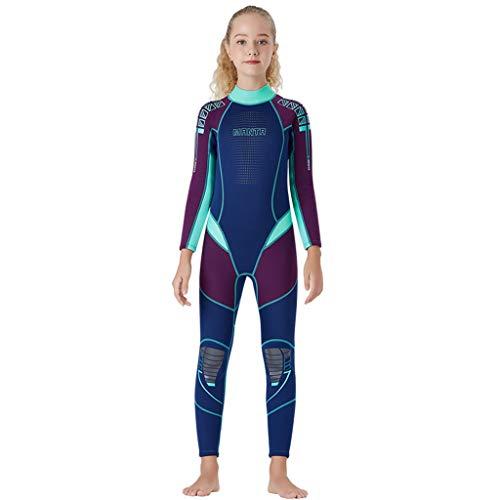 - JDgoods_ Boys Swimwear,Unisex One-Piece Cute Printed Surfing Wetsuit,Cute Swimsuit Long Beachwear Bathing Suit (S, Purple)