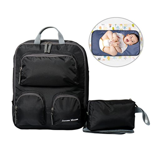 Diaper Backpack Baby Bag - Travel Nappy Changing Bag with Purse Bag and Insulated Pockets Stroller Straps and Changing Mat Black