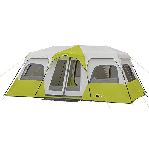 3 Room Camping Tent - CORE 12 Person Instant Cabin Tent - 18' x 10' ...- Light