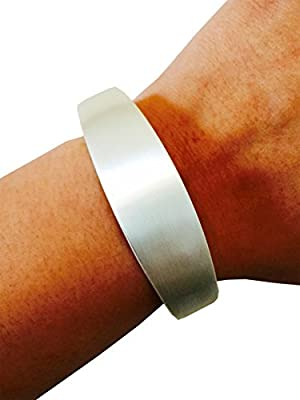 "Fitbit Bracelet for Fitbit Flex Activity Trackers - The TORY 6.1"", 7"" or 8.5"" Inch Bangle Fitbit Bracelet (6.1"" Brushed Sterling Silver)"