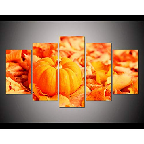 LLTT 5 Pieces/Set of Canvas Art 5 Panel Halloween Pumpkin Hd Canvas Painting Decoration Home Wall Art Printing Canvas Unframed]()