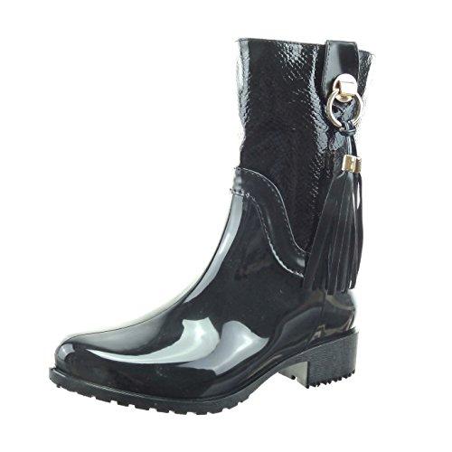 Sopily - Zapatillas de Moda Botines botas de guma de lluvia cavalier Media pierna mujer pompom piel de serpiente brillantes Talón Tacón ancho 3.5 CM - plantilla Forrada de Piel - Negro