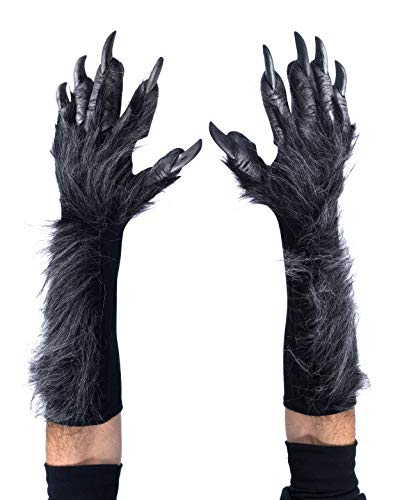 Zagone Studios New Grey Killer Furry Wolf Gloves with Latex Fingers and Claws and Faux Fur
