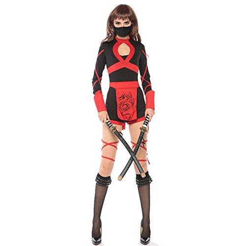 Dragon Ninja Costume Womens (Halloween Warrior Road Ninja Costume Cosplay Ninja Role Play Clothing Lady Adult Style (XL, Black))