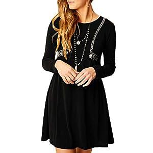 Geckatte Womens Long Sleeve Dresses Casual Fall Loose Swing Tunic Plain Simple T-Shirt Mini Dress Black