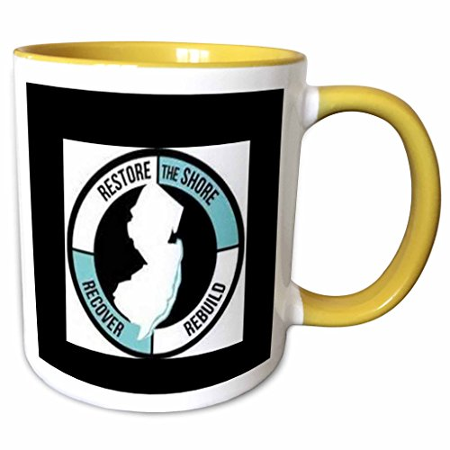 3dRose Xander inspirational sayings - restore the shore, circle with lettering and picture of new jersey - 11oz Two-Tone Yellow Mug - Shore Outlets New Jersey
