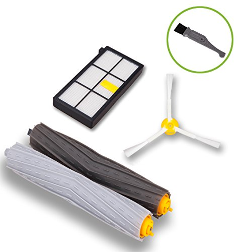 Replace Transfer Roller (I-clean Tangle-Free Debris Extractor Set 1 HEPA Filter 1 Side Brushes Replacement For iRobot Roomba 800/900series 870 880 980 [With a Free Cleaning Brush])