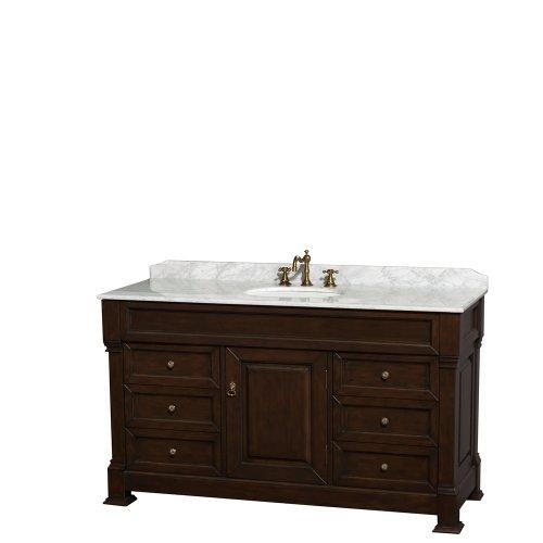 Andover 60 Inch Single Bathroom Vanity in Dark Cherry, White Carrara Marble -