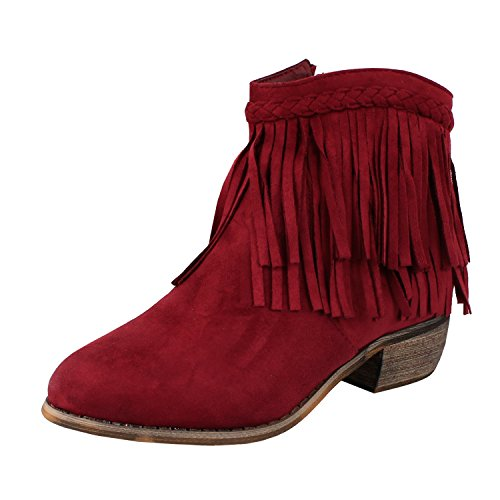Guilty Shoes Fringe Ankle Boot Wstern Cow Girl Closed Toe Bootie Casual Comfortable Cowboy Walking Boot Boots, Wine Suede, 5.5
