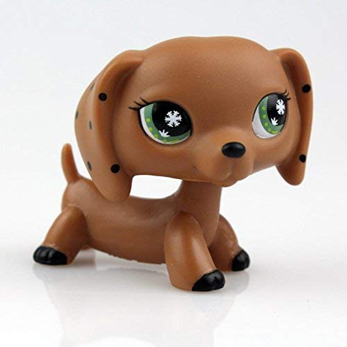 Green Eyes Dotted Ears Brown Dachshund Dog LPS Action Figure Child Toy 2
